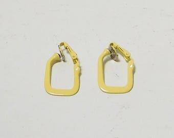 Yellow Clip On Earrings, Painted, Enamel, Rectangle, Never Worn, Vintage Earrings, Costume Jewelry