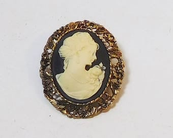 Victorian Cameo Brooch Pendant, Steampunk Jewelry, Large, Black Background, Lady Profile, Flowers, Antiqued Gold Tone, Large Setting