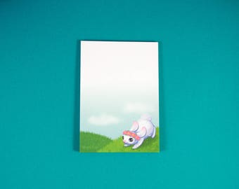 Cute Flower Bunny Note Pad - Rabbit Notepad - Flower Crown Memo Pad - Stationery