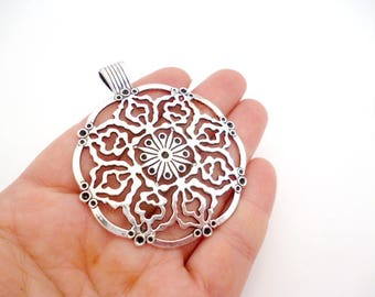"""Large Silver Charm Pendant_ ANT5420008114_ Charms_ Large Tibetan_ Brass_ of 55 mm/ 2,16 """"_ pack 1 pcs"""