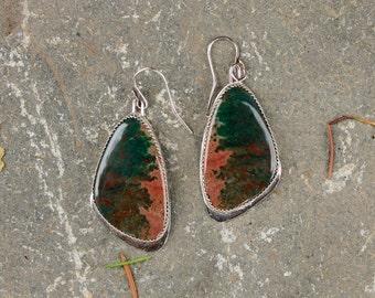 Detailed Ocean Jasper & Shiny Sterling Silver Butterfly Wing Dangily Earrings