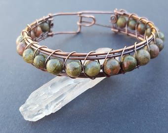 Natural Stone Bracelet, Unakite Bracelet, Natural Stone Jewelry, Earthy Jewelry, Gifts for Him, Jewelry for Men, Wire Wrapped Jewelry