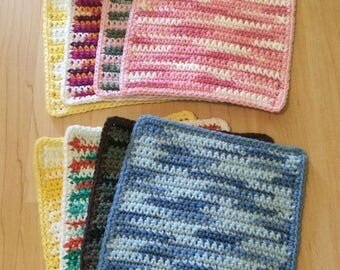 Set of 4 Multi-Colored Crochet Wash Cloths or Dish Cloths