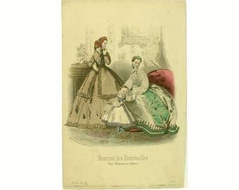 "Antique French fashion print, genuine original ""Journal des Demoiselles"" fashion illustration (1860s)"