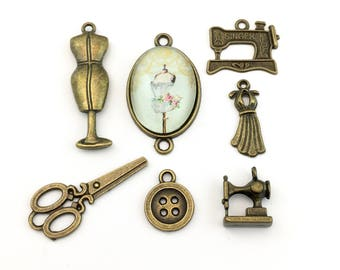 7 sewing charms collection bronze tone, 22m to 35mm #ENS B 028