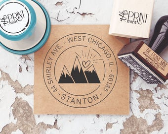 Mountain Address Stamp, Custom Wanderlust Stamp, Outdoors Address Stamp, Return Address, Self-Inking Mountain, Address Embosser, CS-10316