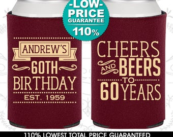 60th Birthday, 60th Birthday Favors, Adult Birthday, Cheers to 60 Years, Cheers and Beers, Party Favors (C20001)