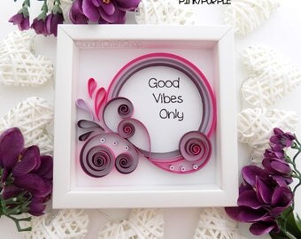 Good Vibes Only, Cubicle Decor, Girl Teen Room Decor, Office Decor, Positive Quote, Quote Art, Paper Art, Square Deep Frame, Positive Vibes