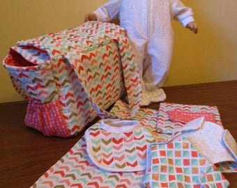 Doll Diaper Bag Set, Sleeper, Changing Mat, Diapers, Bib, Diaper Wipe Case, Bitty Baby, Baby Alive