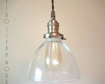 Ceiling Pendant Light  - Hand Aged Brass Finish and Glass Bell Shade Hanging Loft Lamp - Hand Made