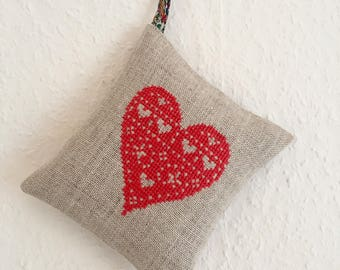 Handmade Valentine Heart Lavender Sachet Cross Stitch Liberty of London Fabric