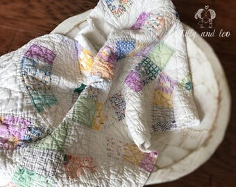 Vintage Quilt Squares/Baby Photo Prop Vintage Quilt/Newborn Shabby Chic Quilt Squares/Pastel Quilt Squares/Baby Basket Stuffer