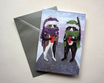 Cats with Coffee Holiday Card, Two Cats with Coffee Christmas Card, Cat Christmas Card by Amber Maki