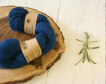 Merino Wool 100g skein DK, double knit, Indigo dyed, natural dyes, plant dyes, blue,