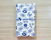 SALE 50% off - Blue Floral Fabric Traveler's Notebook with Pocket, Fauxdori Cover for Standard Midori