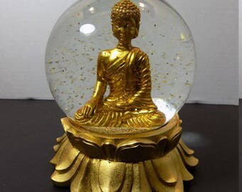 NEW Buddha Glass Snow Gold Globe Sculptures Figurines Rounded Ushnisha Asian Zen Oriental Spiritual Religious Hindu  Gift