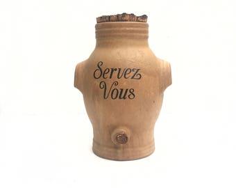 """French Vintage Stoneware Vinaigrier Large Jar """"Servez Vous"""" Preserving Kitchen Rustic Farmhouse Handles"""