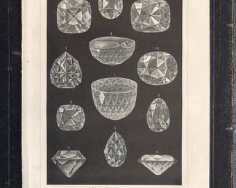 Antique print.1904.DIAMONDS.113 years old print.Old precious stones print.6.2x9.4 inches.Vintage print.Vintage mineral print.16x24 cm.