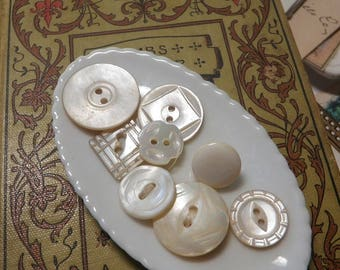 8 Darling Mother of Pearl Buttons  Nice Details