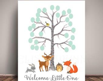 Woodland Creatures & Birch Tree Baby Shower Guest Book Alternative Thumbprint - Guest Book Poster