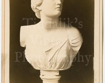 Cabinet Card Photo - Niobe (Daughter) 1864 - antik. Original in Florenz - Sculpture Bust - Antique Photograph