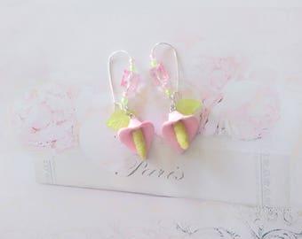 earrings flowers arums pastel polymer clay