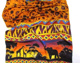 """Silk scarf, handpainted. Hand painted Silk stole """"Savannah"""" with African motifs. Baatik Hand painted Silk scrf. Gift for her. Made to order."""