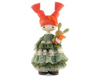 "Baby Girl Gift Cute Rag Doll Lizzie READY TO SHIP Interior Doll 13"" Cloth Doll Fabric Doll Textile Doll Birthday Gift Handmade Doll Fox Doll"