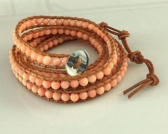 Angel Skin Coral and Natural Leather Long Wrap Bracelet