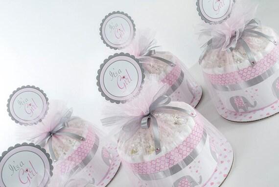 "Five ""Little Elephant"" Pink/Gray Mini Diaper Cakes. Baby Shower Centerpieces."