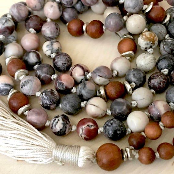 Boho Mala Beads, Matte Porcelain Jasper, Sandalwood, Yoga Jewelry, Unisex Mala Beads, Healing Mala Beads, Stress Relief, Aligns Chakras