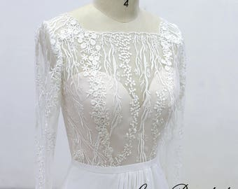 Unique Ivory lace wedding dress with long sleeves, A line wedding dress with nude blush lining for the bodice