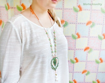 Bohemian long necklace, macrame, micro-macrame jewelry, layer, glass, beaded, beadwork, unique, boho chic, beadwoven, white green orange
