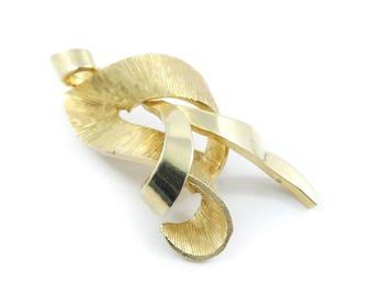 Vintage Modernist Brooch, Gold Tone