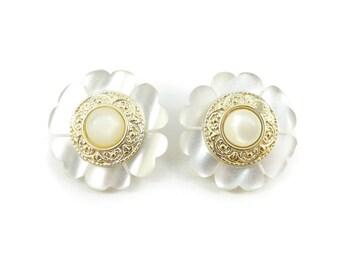 Vintage Flower Earrings, Lucite, Faux Pearl, Clip Ons