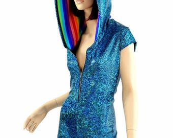 Turquoise Shattered Glass Holographic Zipper Front Cap Sleeve Hoodie Romper with Rainbow Stripe Spikes & Hood Lining - 154571