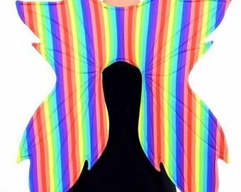 Verticla Rainbow Stripe Wireless Fairy Wings Bright Beautiful Gay Pride Faerie Fae Elf Elvish (Wings Only) - 154771