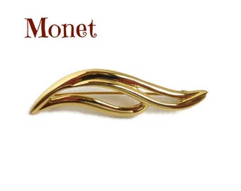 Vintage Leaf Brooch, Signed Monet Gold Tone Brooch, Gift Idea, Gift Box, FREE SHIPPING
