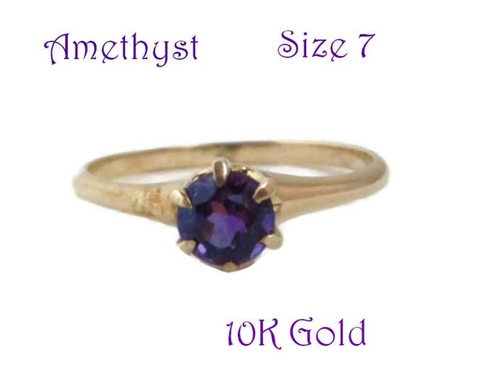 Amethyst Solitaire Ring - Vintage Estate 10K Gold Round Cut Amethyst Ring, February Birthstone, Engagement Ring, Size 7