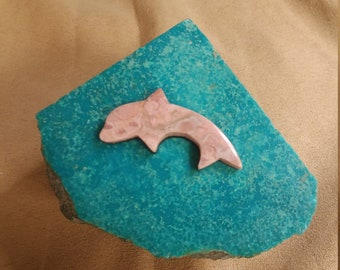 30% OFF Large Pink Rhodonite Dolphin Cabochon/ backed