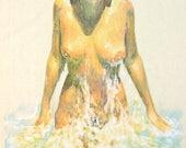 Original hand drawn nude portrait of Australian model and actress Karen Pini