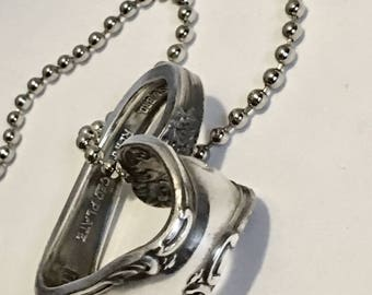 Vintage Valentine Heart Necklace - Gift for Her - Silverware Heart Jewelry - Romantic Gift