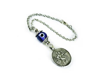 Car Mirror charm Hanging, Evil Eye protection, rearview mirror, Evil Eye Amulet, Car Decoration, St. Christopher Car Travel Charm