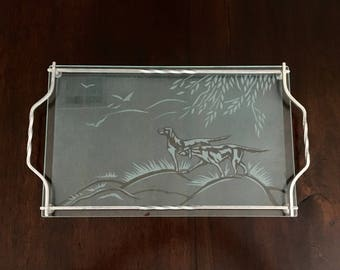 Vintage Etched Glass Serving Tray Hunting Pointer Dogs