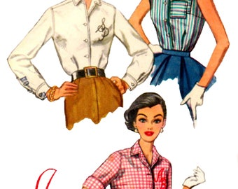 Vintage 1950s Simplicity 2195 Misses And Womens' Monogram Blouse Sewing Pattern