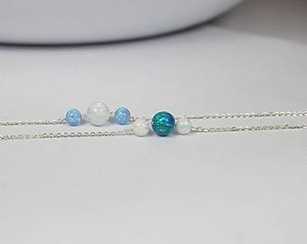 Three Opal Beads Necklace, 6 mm large Opal Necklace,Opal Jewelry, Simple Opal Necklace, WEDDING Jewelry,Sister Necklace ,Daughter Gift her