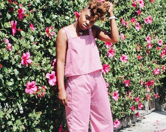 Red Gingham Tank and High Waisted Palazzo Pants - Most Sizes - Cute Matching Outfit