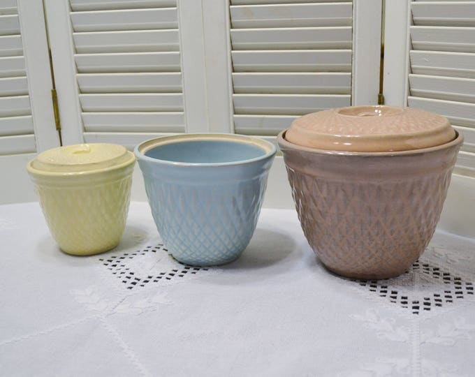 Vintage Hull Pottery Canister Set Nu-Line Diamond Quilt Pastel Pink Blue Yellow Retro Kitchenware Panchosporch