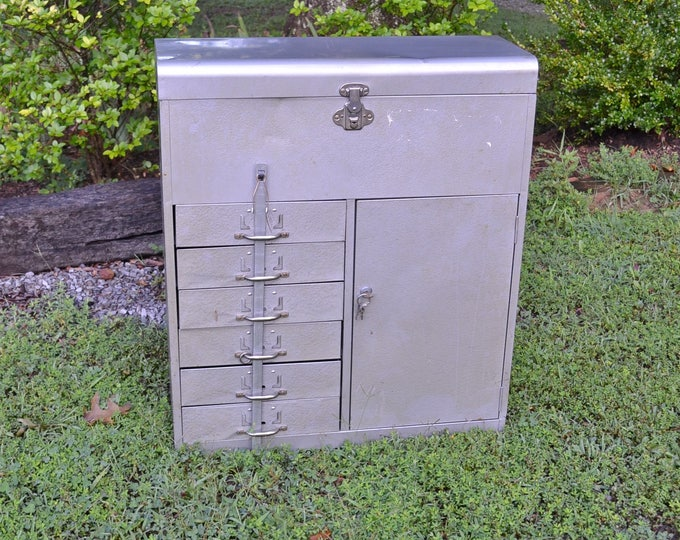 Vintage Metal Cabinet Industrial Military Gray Drawers Paper File Storage Office Craft Room Tool Supplies Eagle Lock Co PanchosPorch
