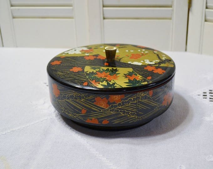 Vintage Lacquer Box with Lid Asian Round Storage Box Chinoiserie PanchosPorch
